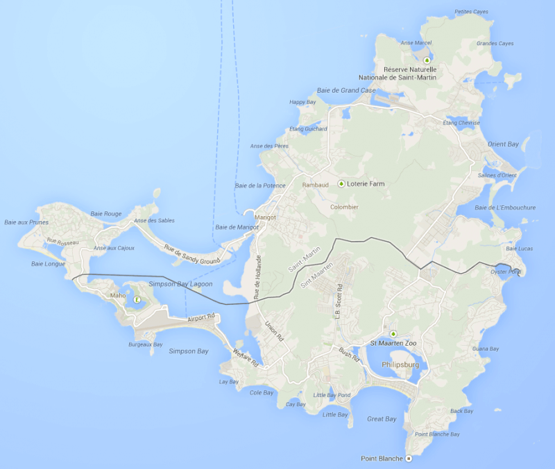 Google map of the island of St Martin