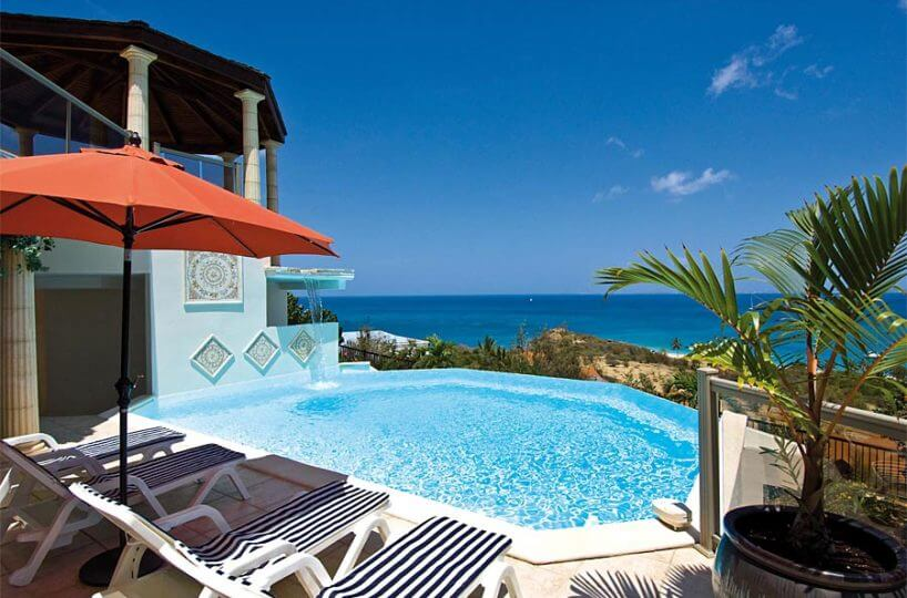 Villa Alexina's Dream is a new property located on sloping land overlooking beautiful Happy Bay and the Bay of Grand Case in St Martin