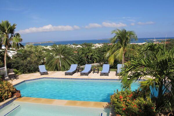 Pool deck and ocean view villa allamande