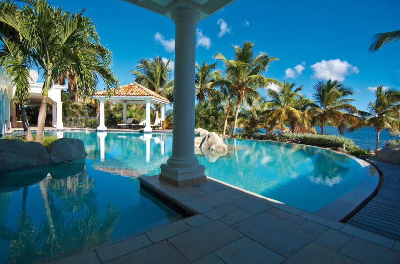 Villa La Salamandre is located in the exclusive Terres Basses area of French St. Martin and offers exceptional views to the capital of St Martin, Marigot.