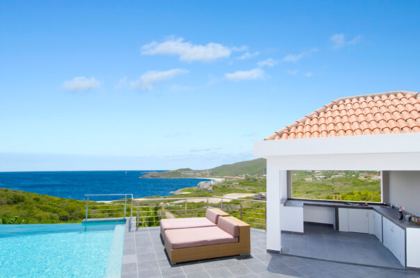 Villa Sea La Vie is a wonderful, new 4 bedroom/5 bathroom villa located in the gated community of Red Pond Estates on St. Maarten. The villa offers breathtaking views of the ocean and the neighboring island of St. Barths