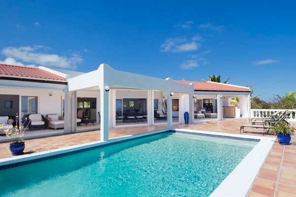 Villa Seascapes a 4 bedroom/4 bathroom villa located in the gated community of Dawn Beach Estates on St.Maarten with views of the ocean and the neighboring island of St. Barths