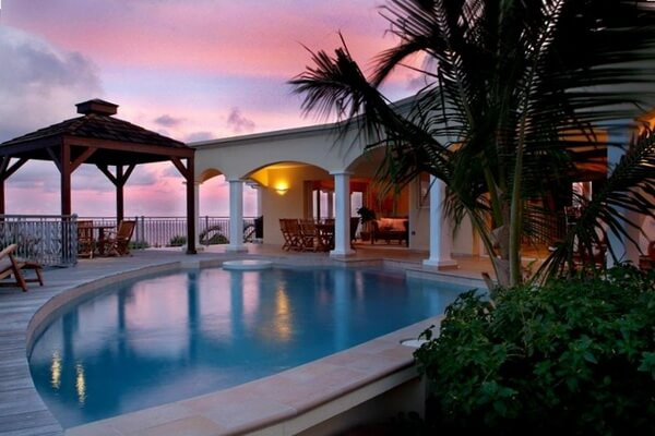 Villa Valhalla, boasts expansive ocean views on the island with 270 degree views from Oyster Pond through St. Barths and Statia and a five minute walk to Dawn Beach