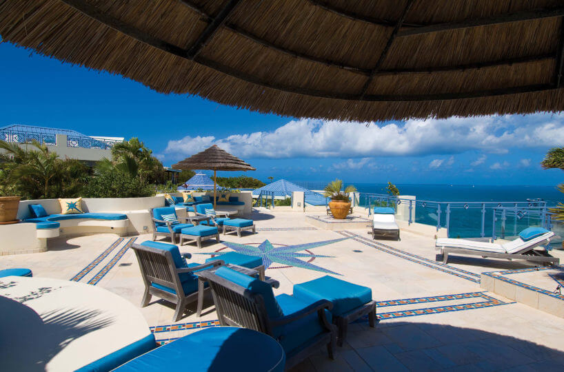 Mes Amis, a stunning Caribbean rental villa located on the French Caribbean island of St. Martin, located 150ft above the Caribbean on a cliff known as the Falaise des Oiseaux, in the exclusive residential area of Terres Basses