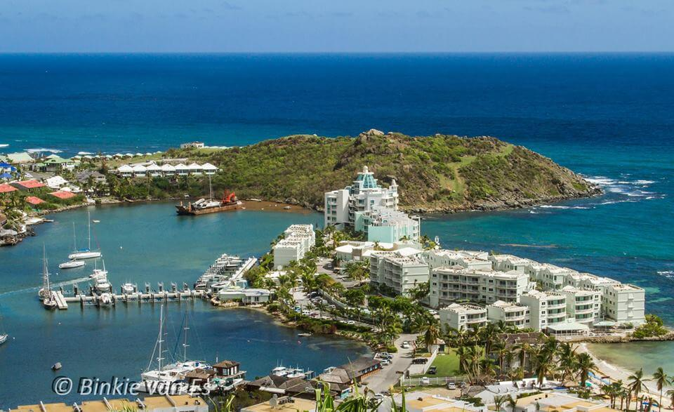 Oyster Pond at the east shore of the Island of St Maarten & St Martin