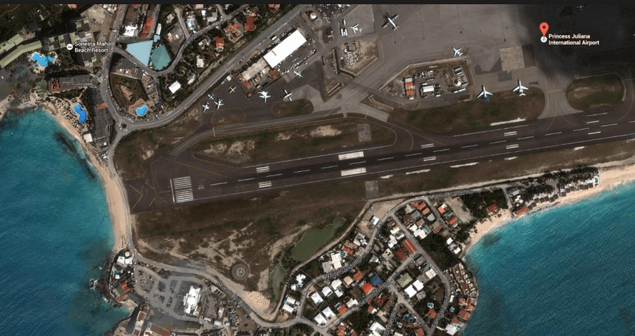 aerial view of the SXM airport, St Maarten