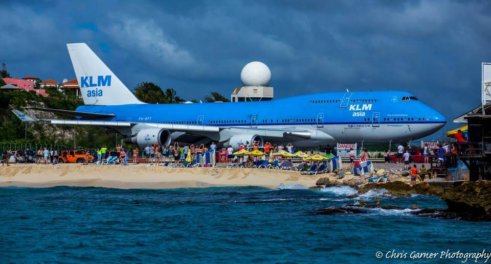klm departure at sxm airport st maarten