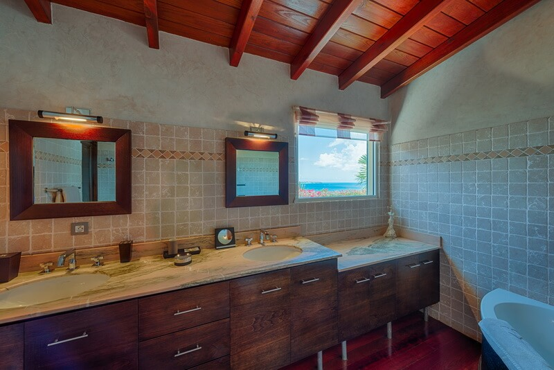 Bathroom villa Dreamin Blue build on the hill over looking Happy Bay, Marigot Bay, Terres Basses, Anguilla and the ocean.