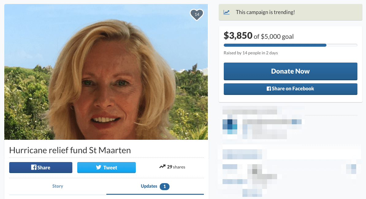 gofund.me update for St Maarten