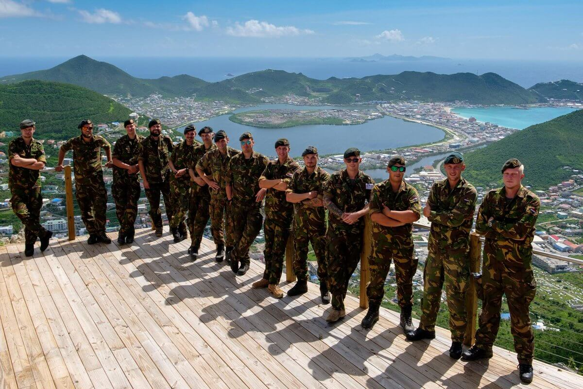 Dutch marines visiting Rockland Estate, Sint Maarten