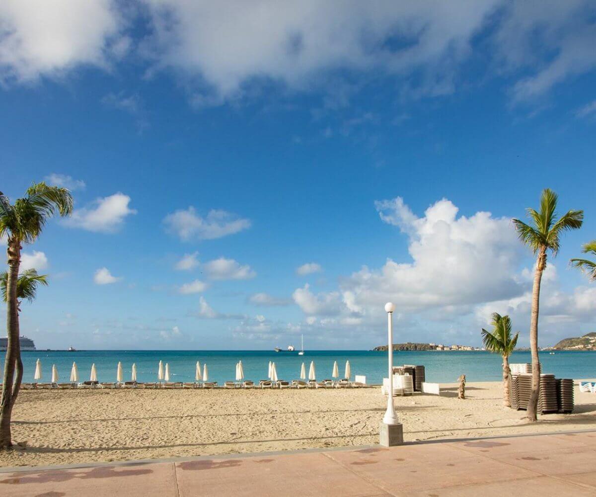 St Maarten beach at the Philipsburg boardwalk